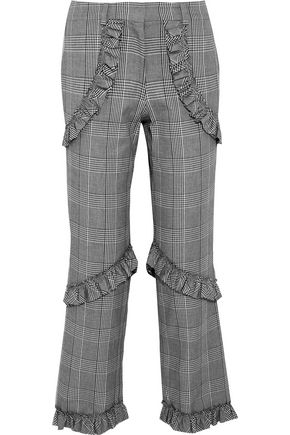 SIMONE ROCHA Ruffled Prince of Wales checked cotton-blend straight-leg pants