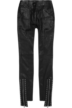 SAINT LAURENT Eyelet-embellished leather skinny pants