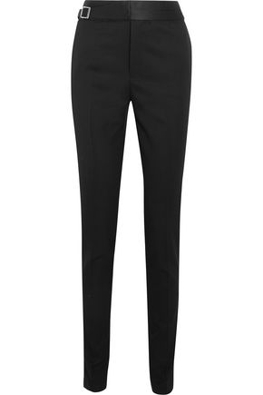 SAINT LAURENT Satin-trimmed wool pants