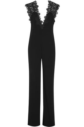 THEORY Lace-paneled crepe jumpsuit