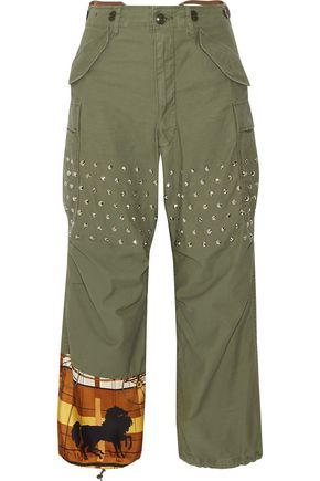 JUNYA WATANABE Printed satin-paneled studded cotton-blend wide-leg pants