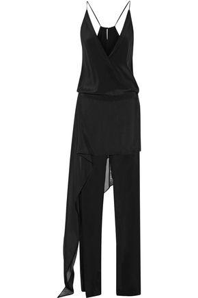 MICHELLE MASON Layered chiffon-trimmed silk-georgette jumpsuit