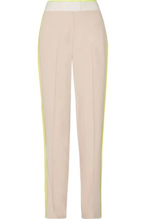 JASON WU Silk satin-trimmed crepe wide-leg pants