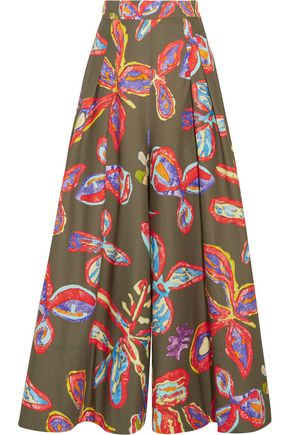 PETER PILOTTO Printed cotton-blend wide-leg pants