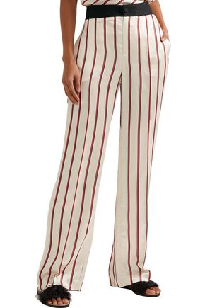 LANVIN Striped satin-jacquard wide-leg pants