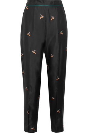 VICTORIA, VICTORIA BECKHAM Printed silk-twill tapered pants