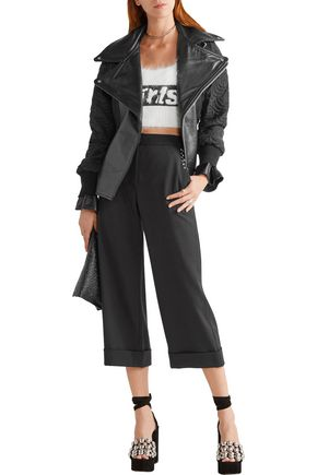 ALEXANDER WANG Embellished cropped twill wide-leg pants