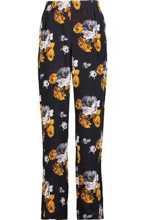 THEORY Viewpine floral-print silk crepe de chine straight-leg pants