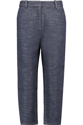 DKNY Cropped wool and cotton-blend straight-leg pants