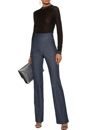 CUSHNIE ET OCHS Lattice-trimmed denim straight-leg pants