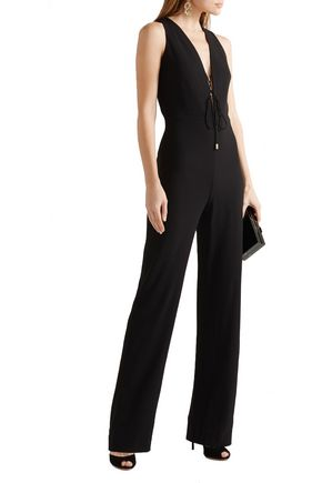 CUSHNIE ET OCHS Claudia lace-up crinkled stretch-crepe jumpsuit