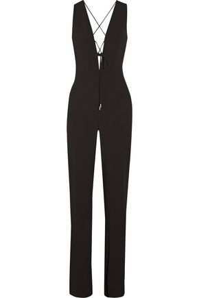 CUSHNIE ET OCHS Claudia lace-up crinkled stretch-crepe jumpsuit