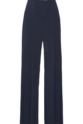 CUSHNIE ET OCHS Pleated stretch-crepe wide-leg pants