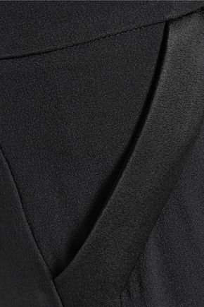 CUSHNIE ET OCHS Satin-trimmed crepe wide-leg pants