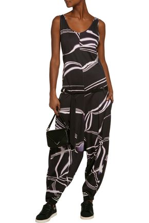 Y-3 + adidas Originals wrap-effect printed cotton-jersey jumpsuit
