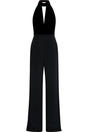 ALEXIS Dawn cutout velvet and crepe jumpsuit