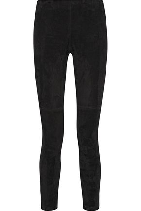 THEORY Stretch-suede skinny pants