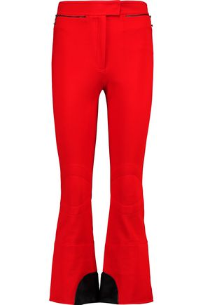 NINA RICCI Faux fur-paneled stretch-knit bootcut pants
