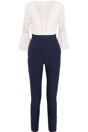 PERSEVERANCE Two-tone lace-paneled crepe jumpsuit