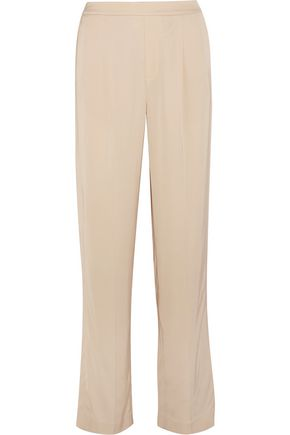 VINCE. Pleated washed-satin wide-leg pants