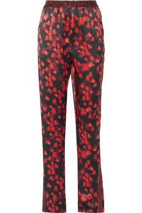 GIVENCHY Printed silk-satin straight-leg pants