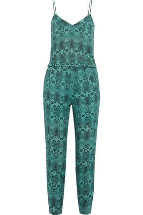 VIX PAULAHERMANNY Jane snake-print linen-blend jumpsuit