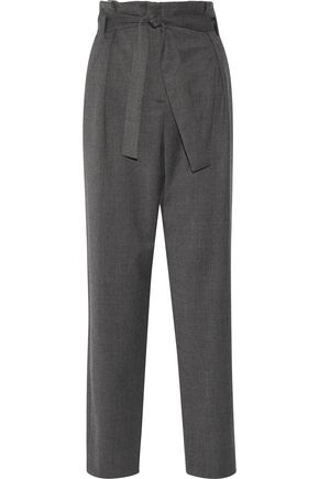 MAJE Belted wool-blend straight-leg pants