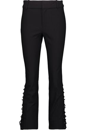 DEREK LAM 10 CROSBY Cropped lace-up stretch-cotton twill bootcut pants