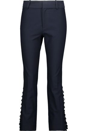10 CROSBY DEREK LAM Cropped lace-up stretch-cotton twill bootcut pants