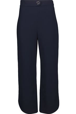 CUSHNIE ET OCHS Cropped eyelet-embellished stretch-crepe straight-leg pants