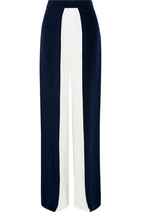 CUSHNIE ET OCHS Two-tone silk-crepe wide-leg pants