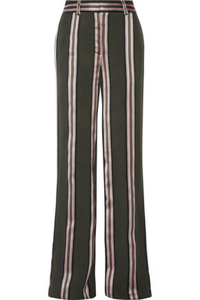 ADAM LIPPES Striped satin-trimmed twill wide-leg pants