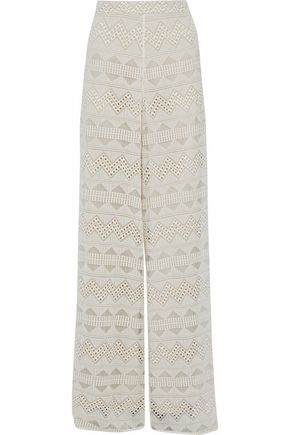 ALICE+OLIVIA Embroidered cotton-gauze wide-leg pants