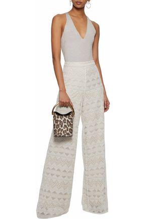 ALICE+OLIVIA Embroidered cotton-gauze wide-leg pants
