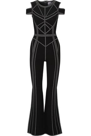 HERVÉ LÉGER Izabella cold-shoulder metallic jacquard-knit jumpsuit