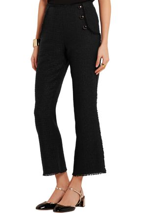 PROENZA SCHOULER Cropped frayed tweed flared pants