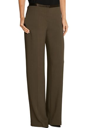 THE ROW Astrid silk-trimmed stretch-crepe wide-leg pants