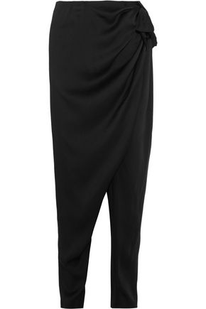 LANVIN Ruched satin tapered pants