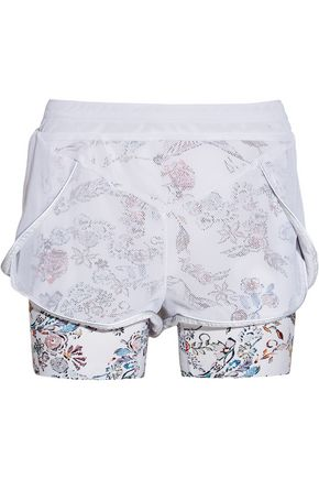 LUCAS HUGH Inca mesh and printed stretch-jersey shorts