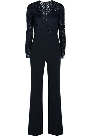 MICHELLE MASON Lace and stretch-crepe jumpsuit