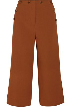 TIBI Cropped button-detailed piqué wide-leg pants