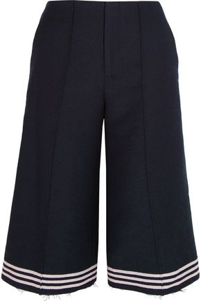 SEA Cropped striped wool-blend felt wide-leg pants