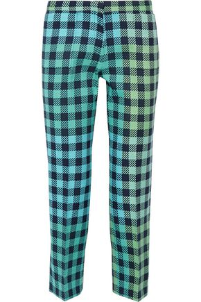 VICTORIA, VICTORIA BECKHAM Cropped gingham wool-blend straight-leg pants