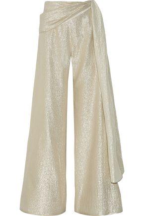 OSCAR DE LA RENTA Silk-blend lamé wide-leg pants