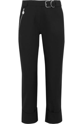 CARVEN Cropped belted canvas straight-leg pants