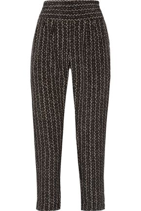 HATCH Jensie printed crepe de chine tapered pants