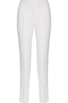 PALLAS Arcadie satin-trimmed grain de poudre wool slim-leg pants