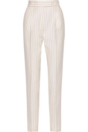 PALLAS Ariel pinstriped grain de poudre wool straight-leg pants