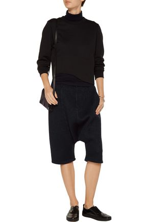 Y-3 + adidas wool blend-trimmed cable-knit shorts