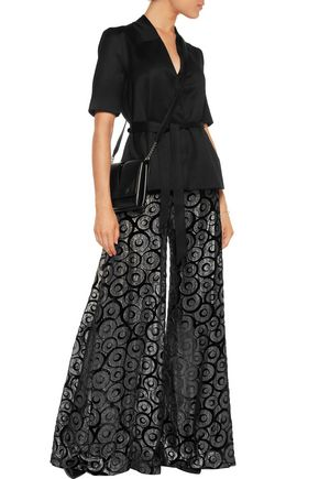 OPENING CEREMONY Metallic devoré-chiffon wide-leg pants